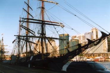 The James Craig alongside at Darling Harbour