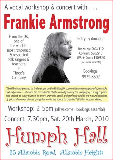 Frankie Armstrong at Humph Hall poster