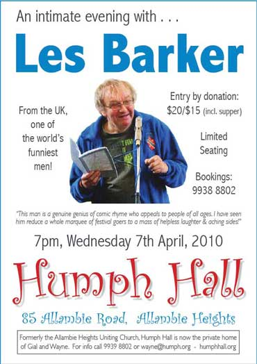 Les Barker at Humph Hall poster