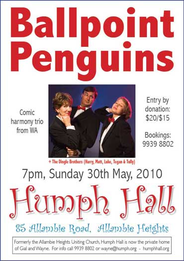 Ballpoint Penguins at Humph Hall poster