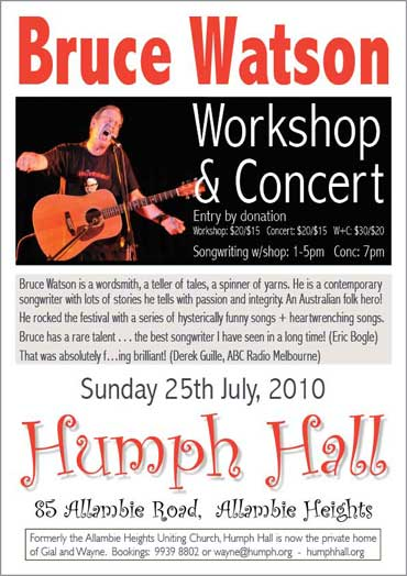 Bruce Watson at Humph Hall poster