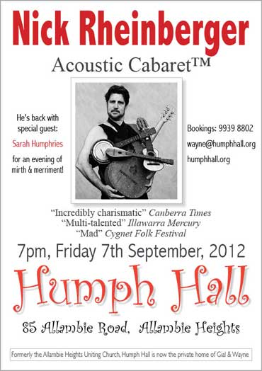 Nick Rheinberger at Humph Hall poster