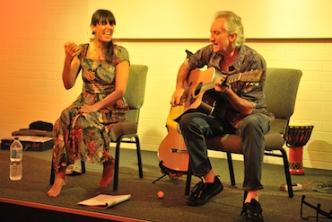 Snez with her co-writer, producer & guitarist, Stewart Peters performing in Humph Hall in 2011.